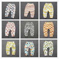 Cheap Baby Boys Casual Pants Newborns Boys Fox Animal Tight Pants Kids Geometry Fruit Printed Trousers Autumn Girls Leggings 9 Style