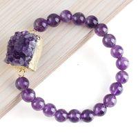 amethyst druzy ring - New Stylish Trendy Natural Druzy Amethyst Random Shape With Amethyst Round Bead Bracelet Statement Accessories
