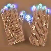 Wholesale LED Light Up Rave Silver Sequin Gloves Color Changing LED Flashing Gloves Colorful Light Flash Finger Glove for party
