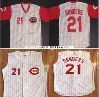 Wholesale Mens Men s Cincinnati Reds Throwback VINTAGE Baseball Jerseys DEION SANDERS Sleeveless embroidery jerseys