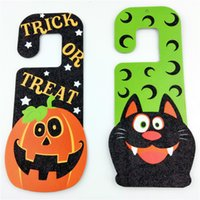 Wholesale Funny Skull Pumpkin Black Cat witches Door Window Hang Decorations Accessories Halloween Door Hanging Paper cut outs
