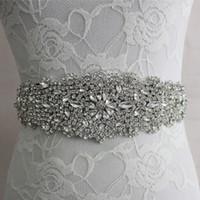 Wholesale Handmade Beaded Crystal Wedding Bridal Sash New Luxurious Satin Wedding Belts Hot Selling Bridal Sashes