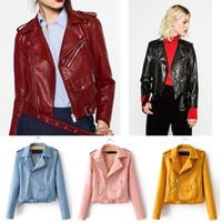 Wholesale Candy Color Womens Slim Biker Motorcycle Jacket Soft Leather Zipper Short Coat Fashion Punk Rock Style Outwear