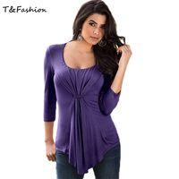 best shirt designs - Best t Shirts Women Design Autumn T Shirts Websites O neck Ruched t shirts in Sizes