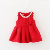 Bébé fille gilet robe automne nouveaux enfants Arcs en perles en dentelle princesse robes enfant en bas âge rouges filles robe de Noël portent robe robe A9413
