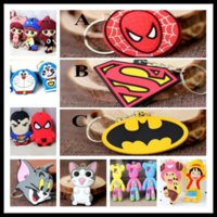 Wholesale 240 Kinds Silicone Cartoon Keychains Avengers One Piece Pokonyan keychains by DHL