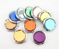 Wholesale Fashion Metal Crystal Compact Mirror Double Sided Portable Carry A Small Mirror Custom Gifts Hight Quality Colorful Make Up Mirror