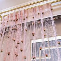 bedroom curtain patterns - Chic Room Lovely Flower Pattern Voile Window Curtain for Door Window Room Decoration Window Screening Pastoral Curtains Bedroom Decor