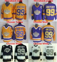 NHL Throwback Los Ángeles Kings # 99 Wayne Gretzky cosió Jersey de hockey Jersey de hockey 100Th Blanco Negro Rojo Oro Amarillo, Top quailty