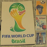 abstract logo designs - Multi style Vintage quot World Cup logo quot Football Poster Bar Cafe Home Decoration Detailed Antique Poster Wall Chart Retro Matte Kraft Paper A1