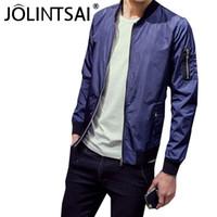 Wholesale Fall Autumn Fashion Bomber Jacket Men Solid Color jaqueta masculina Stand Collar Veste Homme Men Zipper Casual Thin Coat M XL