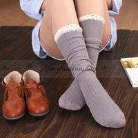 Wholesale Winter Long Women Warm Lace Leg Warmer Boot Socks Crochet Trim Cotton Knit Footed Leg Knee High Stocking L359