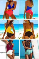 Wholesale One Piece Sexy Bikini Swimsuit Women Monokini Triangle Swimwear Swimsuits Padded High Waist Halter Backless Bathing Suits Colors XL363