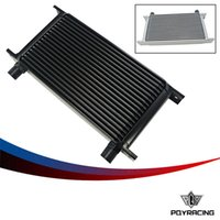 Wholesale PQY RACING New Style ROW AN AN UNIVERSAL ENGINE TRANSMISSION OIL COOLER SILVER BLACK PQY7019