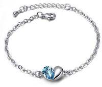 anklet silvers - Women luxurious crystal bracelets Blue bracelet Fashion peach heart anklet Wedding gift Fashion jewelry BP140125