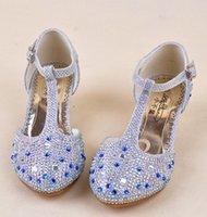 Wholesale 2016 New Korean Kids Wedding Party Girls Shoe Summer Sandals Girls Princess Shoes gem diamond Children s High Heels Shoes