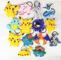 backpack keychains - Poke Figures Keychains Toys Styles Kids Pikachu Sylveon Charmander Bulbasaur Jeni Turtle Keychains Keyring Backpack Pendant