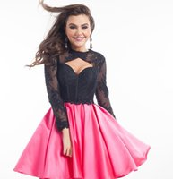 art designs pictures - 2016 Sexy Homecoming Dress Black Lace Beaded Top Satin Mini Skirt Long Sleeve Keyhole Design Backless Cocktail Mini Prom Party Skirts