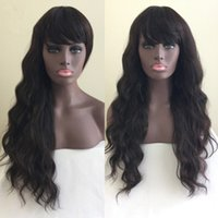 africa bank - 2016 New Beutitful Body Wave Wavy Africa American Malaysian Human Hair Glueless Full Lace Wig Lace Front Wigs With Bangs Can Be Dyed