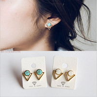 Wholesale 2016 new arrivals occident style turquoise earrings studs Simple circular marble pattern inverted triangle stitching earrings