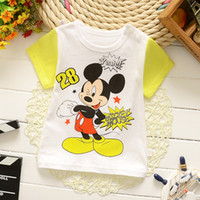baby snoopy boy short - children kids short sleeve t shirt baby summer clothing t shirt Wholesales Mickey Snoopy Cartoon Kids Print T Shirts