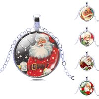 act glass - 2017 New Santa Claus Time Gem Glass Pendant Necklace Women Act The Role Ofing Is Tasted