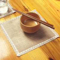 square dinnerware - 15 off Hot Jute Cup Mat dinnerware Bowl mat Burlap Lace Placemats Eco Friendly Rustic Vintage Wedding Decoration Supplies