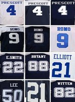 Wholesale cheap Dallas Cowboys Dak Prescott Ezekiel Elliott Tony Romo Emmitt Smith Sean Lee Jason Witten elite embroidered