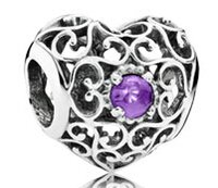 amethyst pandora bead - Hight Qaulity Sterling Silver February silver heart charm with synthetic amethyst Charm Bead Fit For Pandora Bracelets