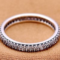 Wholesale PD Factory Sales Sterling Silver Charms Rings white two layer crystals round Ring Fits For European Pandora Jewelry fashion women