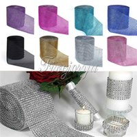 Wholesale 1 Yard Diamond Mesh Wrap Ribbon Roll Row for Wedding Party Banquet Chair Cover Plastic Ribbon Bow Decorations