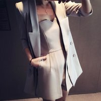 Wholesale 2016 spring new thin pointed collar suit Sleeve long section of European and American all match solid color coat Women