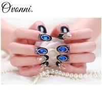 Wholesale Luxurious Beautiful Fashion false nail Pack Crystal Blue Black Artificial Nail Fake Nails for Nail Art Design Nail Tips