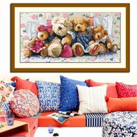 bear cross stitch - Printed Lovely Bear Happy Home Needlework DIY Counted Cross Stitch Kit Embroidery Wall Painting Crafts Gift