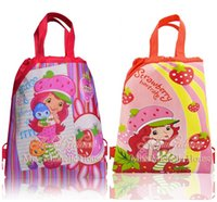 Wholesale Schools Bags Strawberry - Hot Sale 12Pcs Strawberry Shortcake Handbags Kids Gifts Drawstring Backpack Bag,kids school backpacks,Children Bags,Non-woven 34*27CM Size