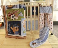 baseball quilt - 9Pcs Baby bedding set Embroidery bear baseball Crib bedding Cot bedding set Quilt Bumper Skirt Mattress Cover Urine bag blanket