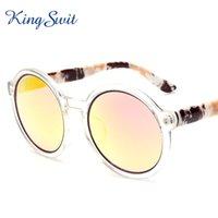 beige definition - KingSwit Classic Round Sunglasses For Women Gradient Golden Lens Transparent Frame Sun Glasses High Definition Eyewear UV400 KS330