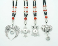 bead jewlery - NEW DJ0024 Fashion Beads Snap Necklace Elephant Wings Owl CrossPendant Beauty Length CM fit MM ginger snap buttons jewlery