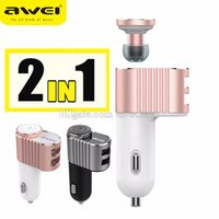 Wholesale Awei A871BL Wireless Headset Mini Bluetooth in Ear Earphone with Dual USB Ports Car Charger Adapter A V Aluminium Alloy Mutil Connection