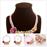 american shorts diy - Luxury Brand Flower Statement Necklaces Short Multi Color Crystal Gemstone Choker Necklace DIY Handwoven Cotton Jewelry For Women