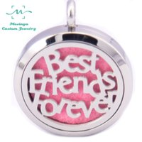 best aromatherapy - 10pcs Round mesinya Best Friends mm Aromatherapy Essential Oils Stainless Steel Perfume Diffuser Locket Necklace free felt pad