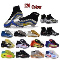 Wholesale Mens high ankle football boots CR7 MercURial SupERfly V VI HERITAGE FG soccer shoes MaGista obra orden II soccer cleats Neymar Hypervenom