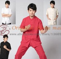 Wholesale New HQ Cotton Linen tang suit short sleeves Chinese Traditional clothing mandarin collar Taichi Wingchun kungfu shirt