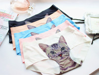 Wholesale Newest Ladies Underwear Cute D Cat Panties Sexy Mid Waist Underwear Comfort Briefs Animal Panties For Women Nylon Panties