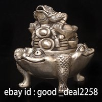 antique bronze dynasty - Chinese Silver Copper Hand Carved Toad Gold Incense Burner w Ming Dynasty Mark