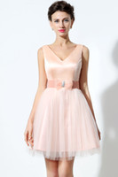 Wholesale Youthful A Line Deep V Neck Lace up Backless Short Satin Sashes Bow Sexy Back Tulle Homecoming Party Dress