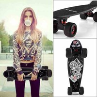 Wholesale PP plastic material thicken aluminum alloy support four big wheels banana skateboard fashional outdoor sports rodas longboard