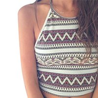 Wholesale Hot Seller Women s Lady s Vest Camis Sleeveless Tank Halterneck Crop Tops Fashion Printing Patterns Cotton Blend EB240 Free Shippi