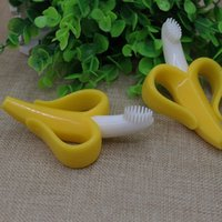 banana packing - Baby Teethers Baby Teething Rings Bite Silicone Banana Toothbrush Without BPA opp bag packing