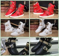 2016 Italie Marque Hommes Bottes en cuir Chaussures Sneakers Chaussures de luxe Chaîne Boucles Cuir Custom Designer chaussures Taille 36-47